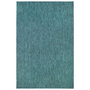 "Liora Manne Carmel Texture Stripe Indoor/Outdoor Rug Teal 6'6""X9'4"""