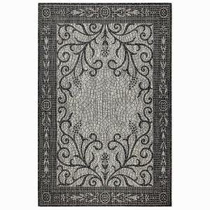 "Liora Manne Carmel Mosaic Indoor/Outdoor Rug Black 7'10"" Rd"