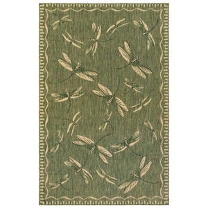 "Liora Manne Carmel Dragonfly Indoor/Outdoor Rug Green 7'10"" Rd"