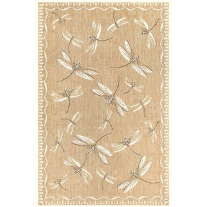 "Liora Manne Carmel Dragonfly Indoor/Outdoor Rug Dark Sand 7'10"" Rd"