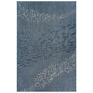 "Liora Manne Carmel School Of Fish Indoor/Outdoor Rug Navy 7'10"" Rd"
