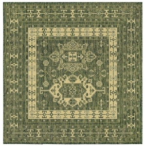 "Liora Manne Carmel Kilim Indoor/Outdoor Rug Green 7'10"" Sq"