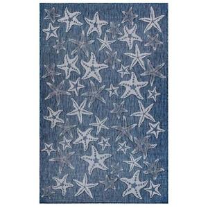 """Liora Manne Carmel Starfish Indoor/Outdoor Rug Navy 7'10"""" Sq"""