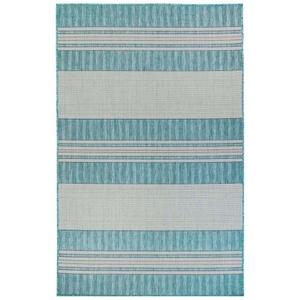 """Liora Manne Carmel Stripe Indoor/Outdoor Rug Aqua 7'10"""" Sq"""