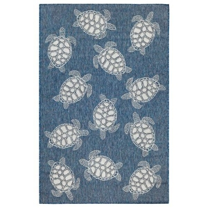 "Liora Manne Carmel Seaturtles Indoor/Outdoor Rug Navy 7'10""X9'10"""