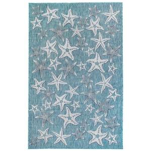 "Liora Manne Carmel Starfish Indoor/Outdoor Rug Aqua 7'10""X9'10"""