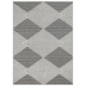 "Liora Manne Cove Tribal Diamond Indoor/Outdoor Rug Grey 23""X7'6"""