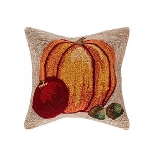 """Liora Manne Frontporch Harvest Pumpkin Indoor/Outdoor Pillow Neutral 18"""" Square"""