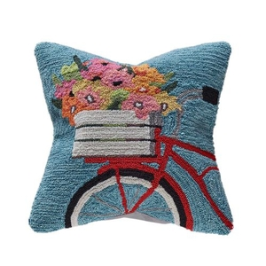"Liora Manne Frontporch Bike Ride Indoor/Outdoor Pillow Blue 18"" Square"