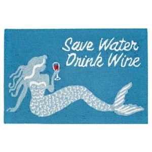 "Liora Manne Frontporch Save Water Drink Wine Indoor/Outdoor Rug Ocean 20""X30"""