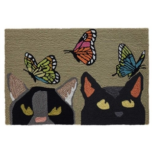 "Liora Manne Frontporch Cats And Butterflies Indoor/Outdoor Rug Mint 24""X36"""