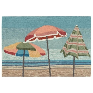 "Liora Manne Frontporch Beach Umbrellas Indoor/Outdoor Rug Aqua 24""X36"""