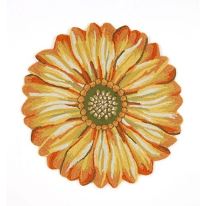 Liora Manne Frontporch Sunflower Indoor/Outdoor Rug Yellow 3' Rd