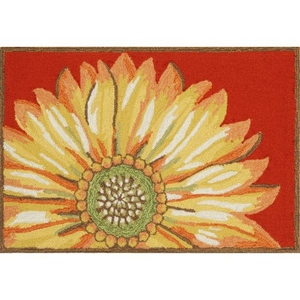 "Liora Manne Frontporch Sunflower Indoor/Outdoor Rug Red 30""X48"""