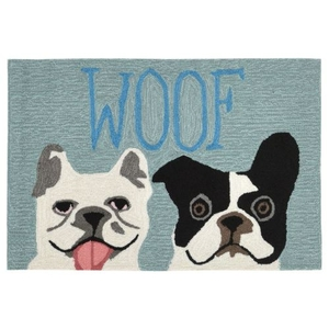 "Liora Manne Frontporch Le Woof Indoor/Outdoor Rug Blue 30""X48"""