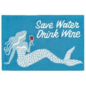 "Liora Manne Frontporch Save Water Drink Wine Indoor/Outdoor Rug Ocean 30""X48"""