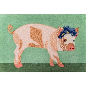 "Liora Manne Frontporch Pretty In Pig Indoor/Outdoor Rug Green 30""X48"""