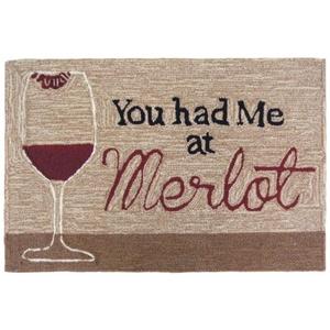 "Liora Manne Frontporch You Had Me At Merlot Indoor/Outdoor Rug Neutral 30""X48"""