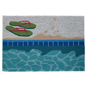 "Liora Manne Frontporch Poolside Indoor/Outdoor Rug Water 30""X48"""