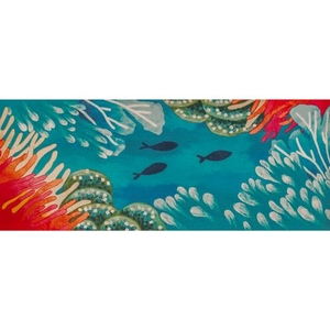 "Liora Manne Illusions Reef & Fish Indoor/Outdoor Mat Coral 23""X59"""