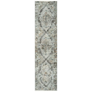 "Liora Manne Jasmine Diamond Medallion Indoor Rug Grey 23""X8'"