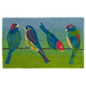 """Liora Manne Natura Blue Birds Outdoor Mat Green 18""""X30"""""""