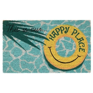 """Liora Manne Natura This Is Our Happy Place Outdoor Mat Aqua 18""""X30"""""""