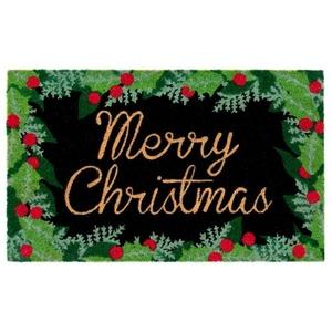 "Liora Manne Natura Merry Christmas Holly Outdoor Mat Black 18""X30"""