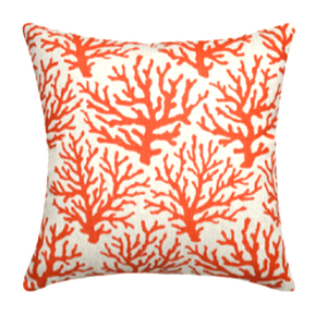 Coral Coral Red Linen Pillow
