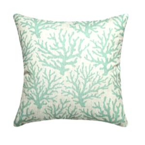 Coral Aqua Linen Pillow