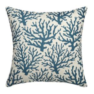 Coral Navy Linen Pillow