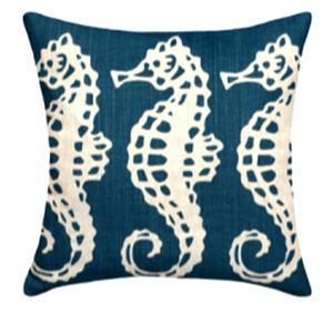 Sea Horse Navy Linen Pillow
