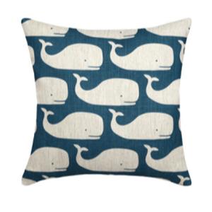 Whales Navy Linen Pillow