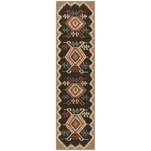 "Liora Manne Riviera Kilim Indoor/Outdoor Rug Black 23""X7'6"""