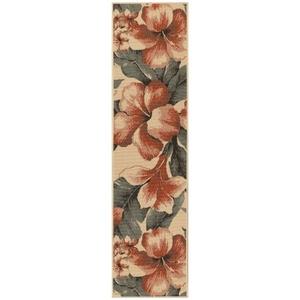 """Liora Manne Riviera Tropical Flower Indoor/Outdoor Rug Cream 23""""X7'6"""""""