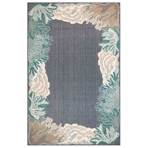 "Liora Manne Riviera Reef Border Indoor/Outdoor Rug Navy 4'10""X7'6"""