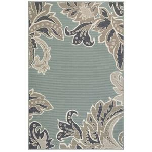 "Liora Manne Riviera Ornamental Leaf Indoor/Outdoor Rug Cool 4'10""X7'6"""