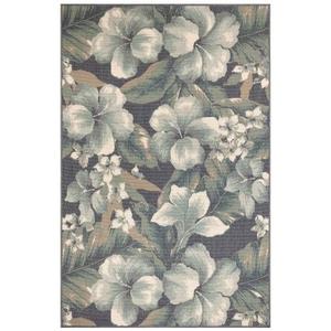"Liora Manne Riviera Tropical Flower Indoor/Outdoor Rug Navy 4'10""X7'6"""
