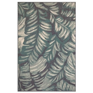 "Liora Manne Riviera Palm Indoor/Outdoor Rug Teal 4'10""X7'6"""