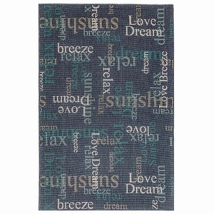 "Liora Manne Riviera Happy Words Indoor/Outdoor Rug Navy 4'10""X7'6"""