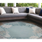 "Liora Manne Riviera Reef Border Indoor/Outdoor Rug Aqua 7'10"" Rd"