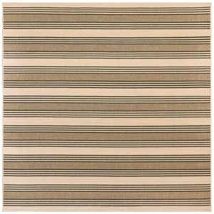 """Liora Manne Riviera Stripe Indoor/Outdoor Rug Tan 7'10"""" Sq"""