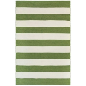 "Liora Manne Sorrento Rugby Stripe Indoor/Outdoor Rug Green 5'X7'6"""