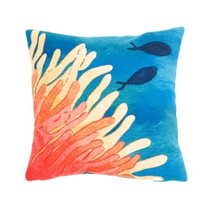 "Liora Manne Visions Iii Reef & Fish Indoor/Outdoor Pillow Coral 20"" Square"