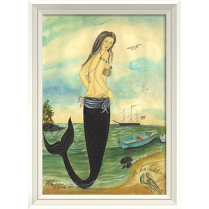 I've Been Spotted- Mermaid White Framed Art