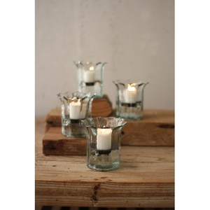 Recycled Glass Mini Ribbed Votive Cylinders, Set of 4