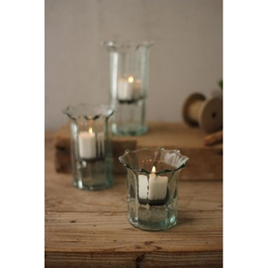 Recycled Glass Ribbed Votive Cylinders, Set of 3