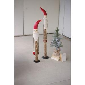 Wood And Painted Metal Santas, Set of 2