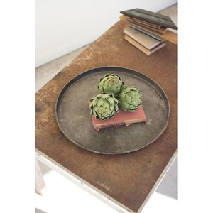 Round Rustic Galvanized Tray, Set of 4