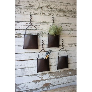 Hanging Iron Pocket Bucket With Chain, Set of 4